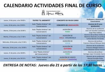 """CALENDARIO DE ACTIVIDADES Conservatorio Elemental de Música """"Isaac Albéniz"""""""