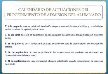Calendario de admisión 2016/17