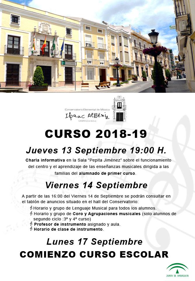 """APERTURA CURSO 2018-19 Conservatorio Elemental de Música """"Isaac Albéniz"""""""