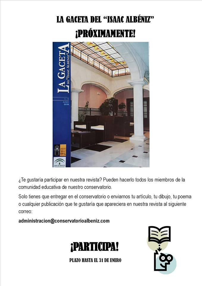 """Prox. nuevo número de la Gaceta del """"Isaac Albéniz""""."""