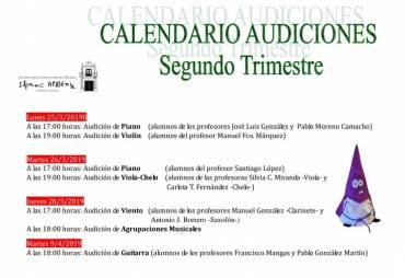 Calendario Audiciones Segundo Trimestre