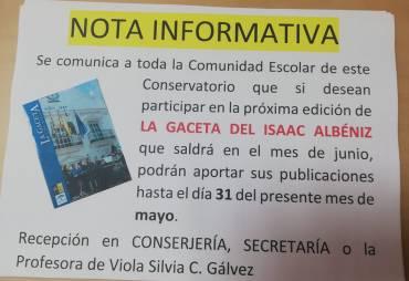 Vuelve la Gaceta del Isaac Albéniz