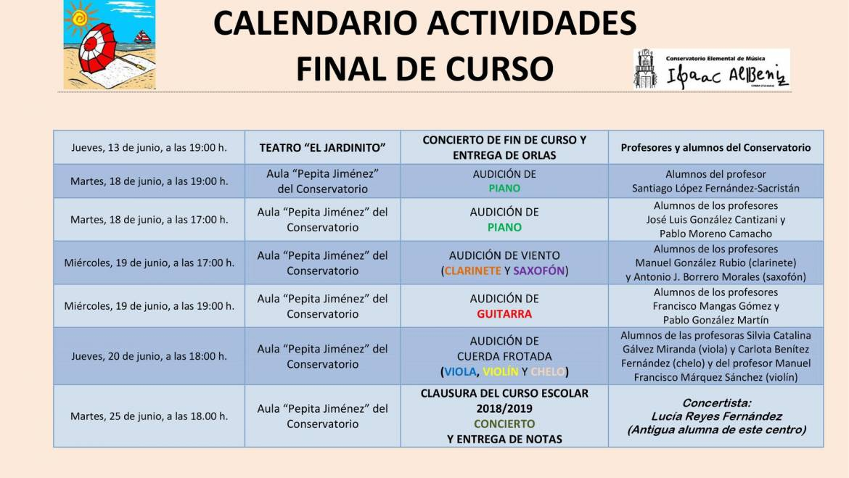 CALENDARIO ACTIVIDADES FINAL DE CURSO